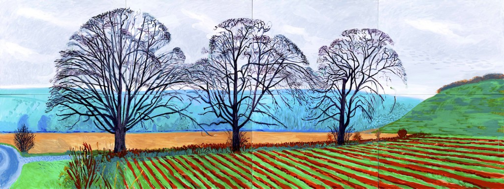 """""""THREE TREES NEAR THIXENDALE. WINTER 2007"""" OIL ON 8 CANVASES (36 X 48"""" EA) 72 X 192"""" OVERALL © DAVID HOCKNEY PHOTO CREDIT: RICHARD SCHMIDT"""