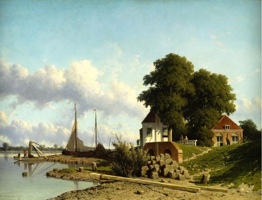 Aan de Lek bij Elshout. Jan Weissenbruch, 1850/54. Teylers Museum