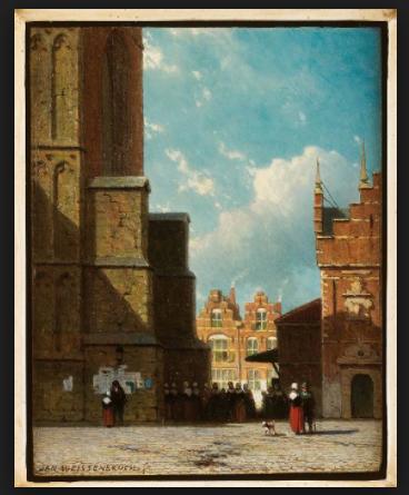 De Lepelstraat tussen de Grote Kerk en de Vleeshal in Haarlem, Jan Weissenbruch, ca. 1860