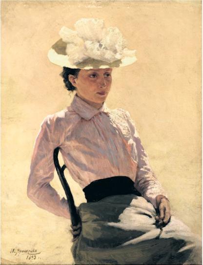Nikolai Yaroshenko (1846-1898) Portret van een onbekende vrouw. Collectie Russisch Staatsmuseum