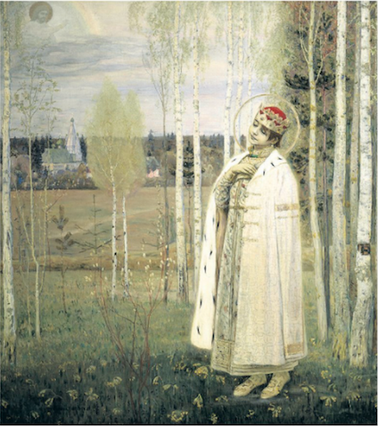 De vermoorde tsarevich Dmitri, Mikhail Nesterov (1862-1942). Collectie Russisch Staatsmuseum